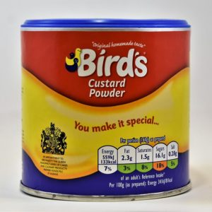 Bird's custard, birds, powdered custard