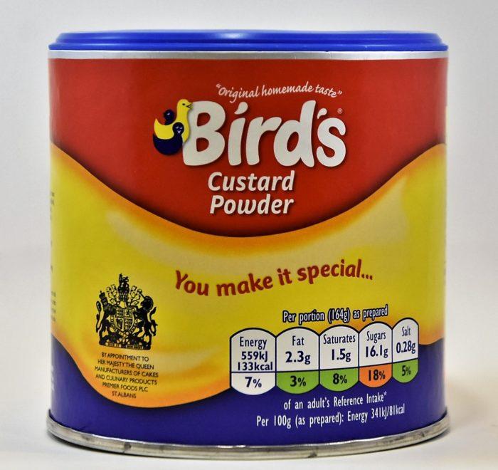 Bird's custard, birds, powdered custard